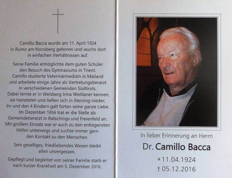 Bacca Camillo Dr. in Ratschings-Freienfeld, Südtirol 1924-2016 Rumo am Nonsberg.jpg
